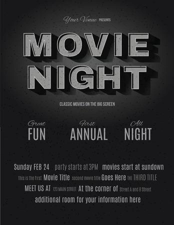 cine: Película de la vendimia o el efecto retro texto cine publicidad de una plantilla de volante invitación noche de cine Vectores