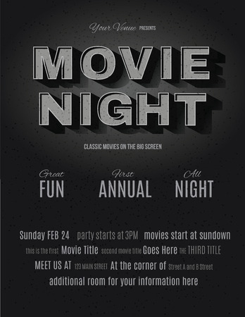 night: Vintage movie or retro cinema text effect advertising a movie night invitation flyer template