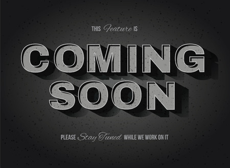 Vintage movie or retro cinema text effect coming soon sign Vectores