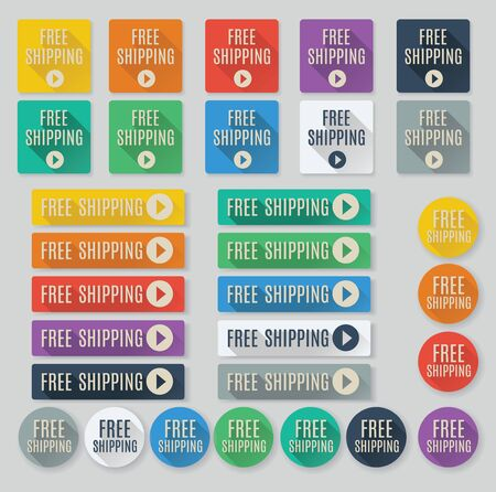 feature: Set of flat web buttons with call to action text.  Free Shipping buttons feature popular color palette for flat UI designs and long drop shadows. Illustration