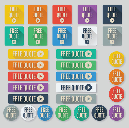 set free: Set of flat web buttons with call to action text.  Free Quote buttons feature popular color palette for flat UI designs and long drop shadows.