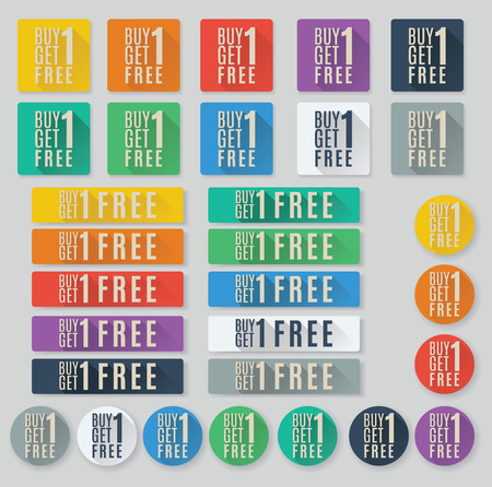 Set of flat web buttons with call to action text.  Buy one get one free or BOGO buttons