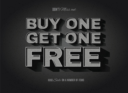 one: Vintage movie or retro cinema text effect BOGO, buy one get one free ad Illustration