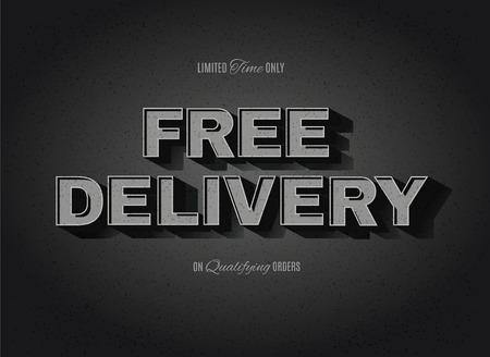 빈티지 영화 또는 복고풍 시네마 텍스트 효과 광고 무료 배달 서명 일러스트