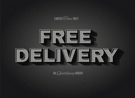Vintage movie or retro cinema text effect advertising free delivery sign Illustration