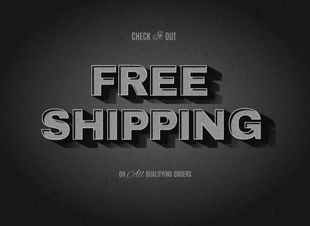 Vintage movie or retro cinema text effect advertising vector free shipping sign Illustration