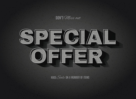 effect: Vintage movie or retro cinema text effect advertising vector special offer sign Illustration