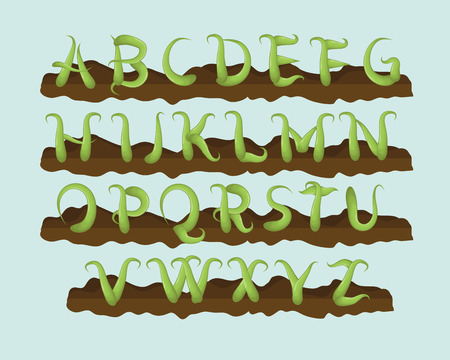 Fun hand drawn vine letter alphabet Illustration