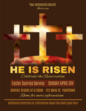 church service: He is Risen Easter Sunrise Service Flyer template Illustration