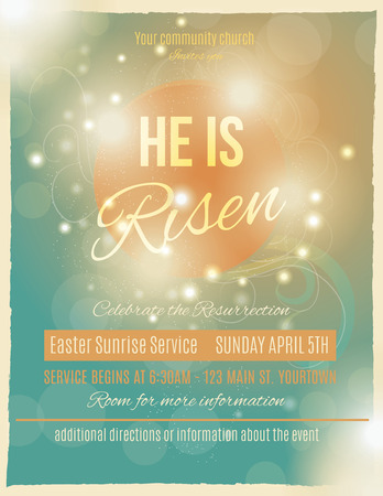 blue church: Bright and shining He is Risen Easter Sunrise Service Flyer or poster template