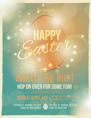 egg hunt: Bright and sparkling Easter egg hunt invitation flyer or poster