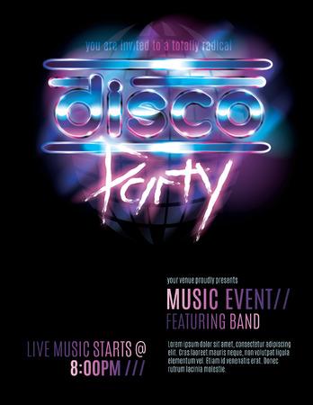 fiestas discoteca: Plantilla de invitación brillante retro 80s fiesta o fiesta de discoteca