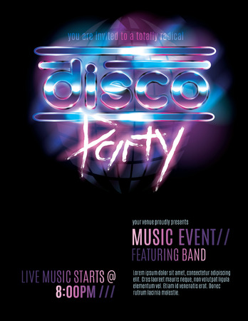 Shiny retro 80s party or disco party invitation template Vector