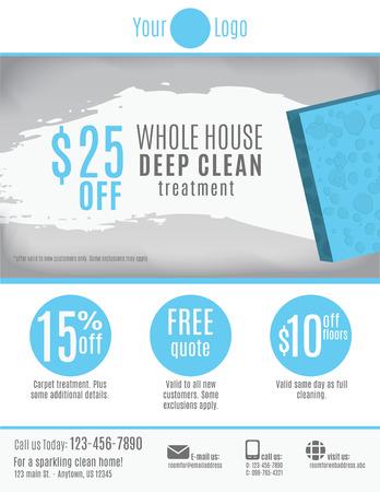 Modèle de dépliant Service de nettoyage avec des coupons de réduction et de la publicité Banque d'images - 37780699