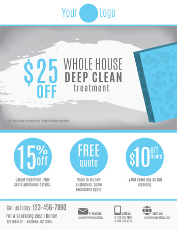 Cleaning Service flyer template with discount coupons and advertisement