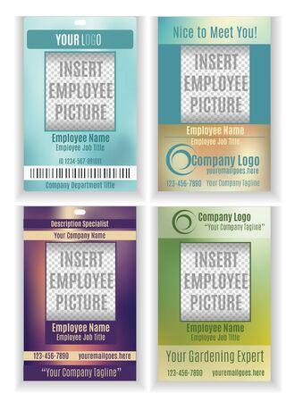 Set of vector employee badge ID templates Ilustração