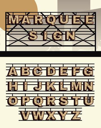 tipos de letras: Estilo retro firman cartas de vectores de marquesina Vectores