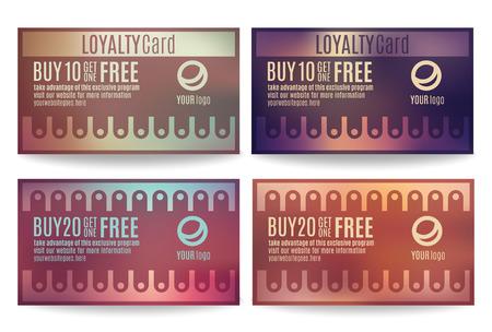 Bright and colorful Customer loyalty card or reward card templates