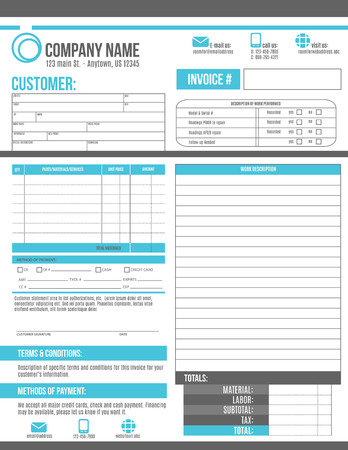 Customizable Invoice template design with room for a work order description 矢量图像