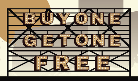 bogo: Marquee sign that says BOGO, buy one get one free Illustration