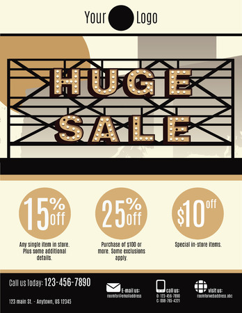 marquee sign: Vector flyer template with a huge sale marquee sign