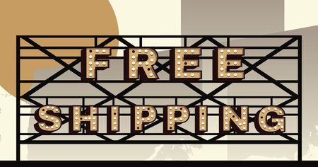 marquee sign: Vector marquee letter Free Shipping sign
