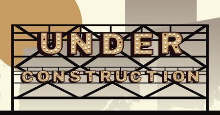 Vector marquee letter Under Construction sign Illustration
