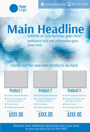 Blue and white product flyer template