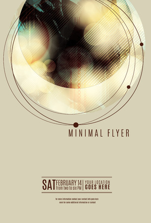 dj: Minimal circle geometric flyer or poster template design