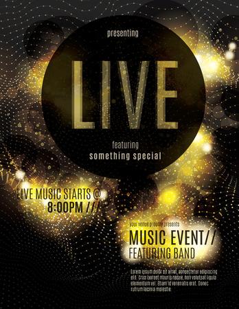 Fonkelende gouden live muziek poster template
