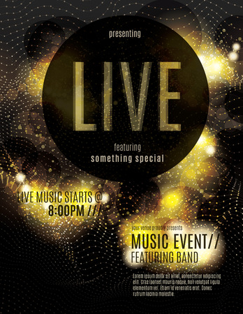 black grunge background: Sparkling gold live music poster template Illustration