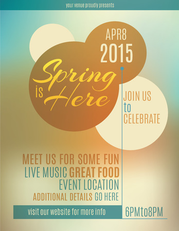 events: Live music festival spring poster or flyer design template Illustration