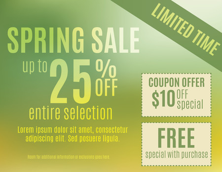 mailer: Green and Yellow spring event sale postcard template Illustration