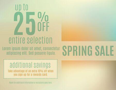 Bright spring event sale postcard template