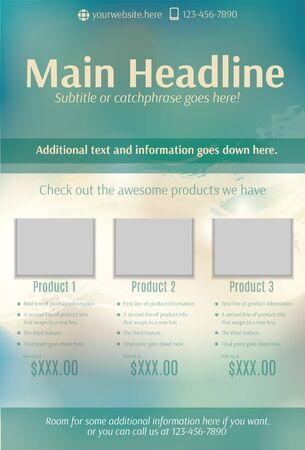 page layout: Bright teal and beige product flyer template
