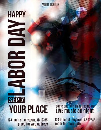 shiny day: Modern Labor Day Celebration grunge flyer template