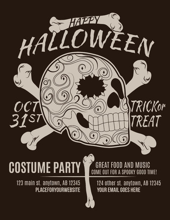 brown sugar: Happy Halloween Party Flyer with Sugar Skull and Bones
