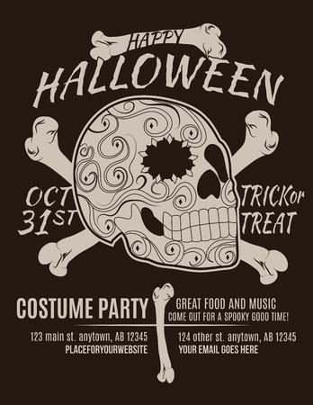 Happy Halloween Party Flyer with Sugar Skull and Bones