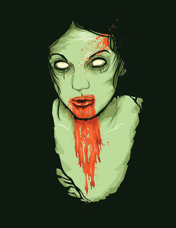 Vector Illustrator of Female Zombie Girl with blood dripping from her mouth Illustration