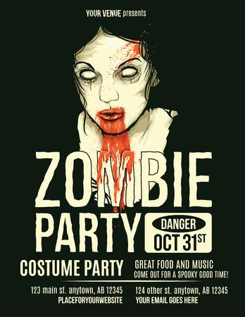 Zombie Party Flyer con Ilustración de la Mujer Zombie Girl Foto de archivo - 44638266