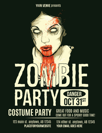 girl: Zombie Party Flyer with Illustration of Female Zombie Girl Illustration