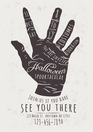 scary hand: Vector Halloween Party Invitation with zombie hand background