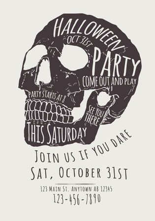 vintage postcard: Vector Halloween Party Invitation with hand drawn skull
