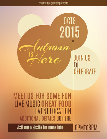 festival vector: Autumn is Here event flyer