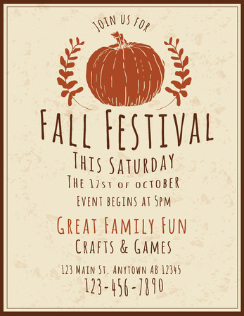 Simple and retro hand drawn Fall Festival Flyer Vectores