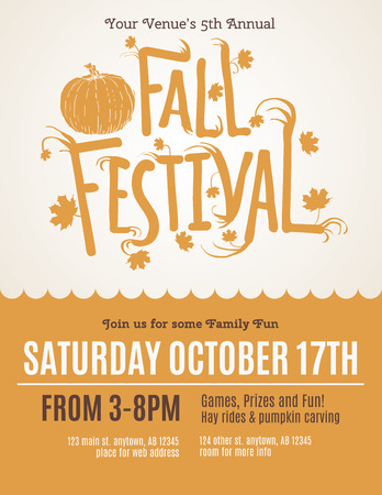 Fun Fall Festival Invitation Flyer Çizim