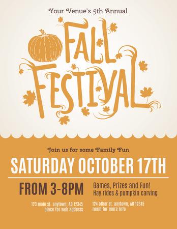 frutas divertidas: Fun Festival de Otoño Invitación folleto Vectores