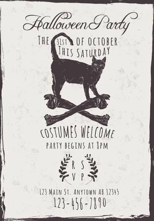 Vector Halloween Party Invitation with black cat and bones
