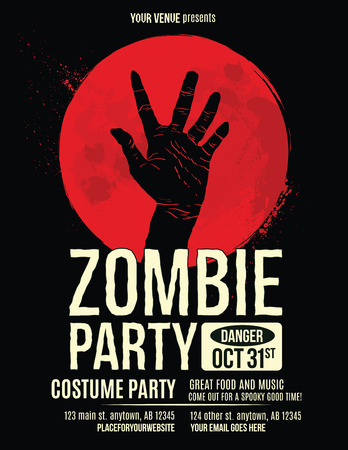 halloween party: Zombie Party Flyer with Illustration of Zombie Hand in Blood Moon