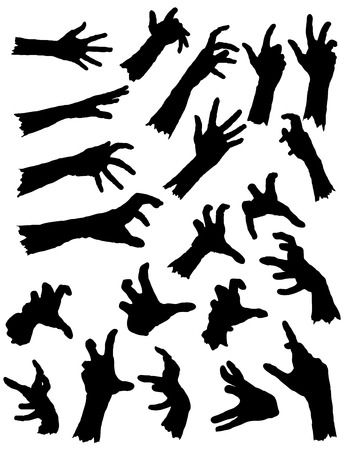 creepy monster: Collection of Zombie Hands in different poses.